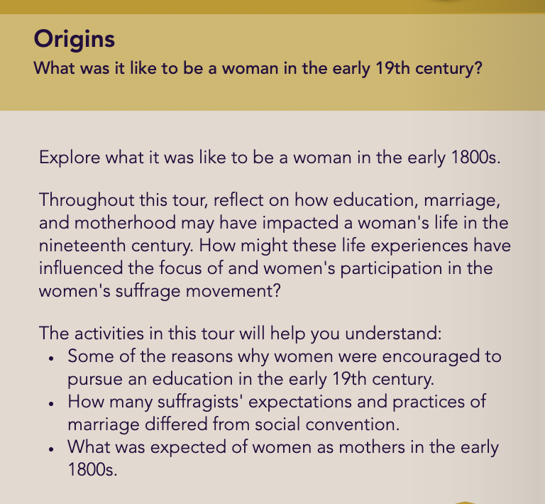 Image is an example of the Origins module. It poses a question, and then provides a textual answer.